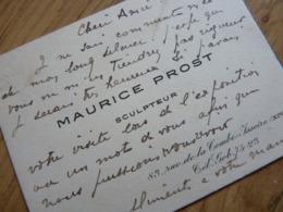 Maurice PROST (1894-1967) SCULPTEUR Animalier. Elève Léopold Morice & Charles Valton. AUTOGRAPHE - Autographes
