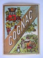Etiket Etiquette Cognac Fine Champagne Vendange Raisins N° 130 Morjos - Autres