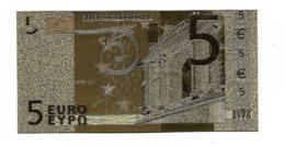 BILLET - 5 EURO EN OR FIN CARAT - EURO