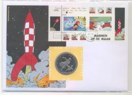 Nfk39c STRIP KUIFJE MANNEN OP DE MAN RIN TIN TIN MEN ON THE MOON ROCKET NEDERLAND 1999 ECU BRIEF NO. 39 NUMISLETTER - Comics