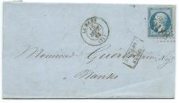 N°22 BLEU NAPOLEON SUR LETTRE / LE MANS POUR NANTES / 1863 - 1849-1876: Classic Period