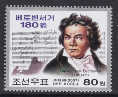 TIMBRE NEUF DE COREE DU NORD - LUDWIG VON BEETHOVEN N° Y&T 3608 - Musica