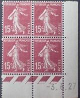 R1189/232 - 1927 - TYPE SEMEUSE - BLOC - N°189 (I) TIMBRES NEUFS** CdF Daté - ....-1929