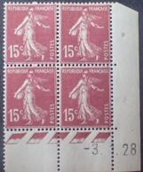 R1189/233 - 1928 - TYPE SEMEUSE - BLOC - N°189 (I) TIMBRES NEUFS** CdF Daté - ....-1929