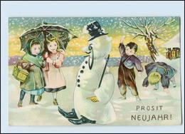 W8S51/ Neujahr Kinder Und Schneemann  Schöne LItho AK 1912 - New Year