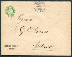 1891 Switzerland Henri Fierz, Zurich Private Stationery Cover Fluntern - Milan Italy - Storia Postale