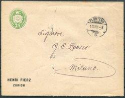 1892 Switzerland Henri Fierz, Zurich Private Stationery Cover Fluntern - Milan Italy - Storia Postale
