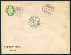 1893 Switzerland Theodor Fierz, Zurich Private Stationery Cover - Paris France. Ambulant No 21 TPO Railway - Briefe U. Dokumente