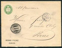 1889 Switzerland Henri Fierz, Zurich Private Stationery Cover - Paris France. Belfort A Paris Railway TPO - Briefe U. Dokumente