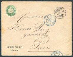 1889 Switzerland Henri Fierz, Zurich Flutern Private Stationery Cover - Paris France. - Briefe U. Dokumente