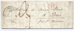 BOUCHES DU RHONE LETTRE FLEURON LAMBESC 1840 + BOITE F + ID ROUGE - 1801-1848: Precursors XIX