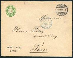 1889 Switzerland Henri Fierz, Zurich Private Stationery Cover - Paris France. - Briefe U. Dokumente