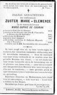 Bidprentje - Marie De Cooman - ZUSTER Marie Clemence - Gent - Deinze - Lokeren - Décès