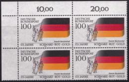 """BRD, 1990 Nr. 1463 **,  Viererblock Mit Eckrand Oben Links, """"175 Jahre Nationalfarben Schwarz-Rot-Gold"""" - Nuovi"""