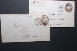 Great Britain: 1878 & 1879 Postal Envelopes To Glocestor, Etc.-Flap Faulty (#RU3) - Luftpost & Aerogramme
