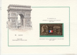 """France 1970 """" In Memoriam Général De Gaulle Vignette Neuve Or Timbre Frappé Sur Or Battu 23 Carats - Sonstige"""