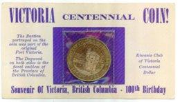 1862-1962 Victoria BC Canada Centennial Souvenir Dollar $1.00 Coin - Canada