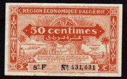 ALGERIE: Bilet De 50 C. Rouge Clair. Date 1944. N° 97b Série F (le Plus Rare) - Algeria