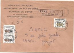 TAXE INSECTES 2FR+10C PAIRE GERZAT PUY DE DOME 1988 LETTRE TAXE SIMPLE - Postmark Collection (Covers)