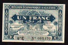 ALGERIE: Billet De 1F Bleu. Date: 1944. N° 98 B, Série E (le Plus Rare) Neuf - Algeria