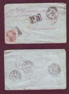 ITALIE- Lettre De MESSINA Pour La Mastre (Ardèche) Avec Port Dû Pour Le Retour - 1867 - Marcophilia