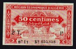 ALGERIE: Billet De 50 C Rouge Foncé. Date 1944. N° 100 (2ème Tirage) N'a Pas Servi - Algeria