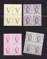 1944 Nr 670-73** Zonder Scharnier,blokjes Van 4.Bevrijding Staatswapen Met Opdruk V. - 1935-1949 Petit Sceau De L'Etat