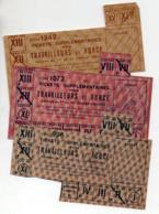 (guerre 39-45) Restrictions Rationnement : Lot De 4 Tickets TRAVAILLEURS DE FORCE  1943 ET 1944  (PPP20908) - Vieux Papiers