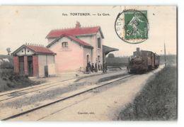 CPA 18 Torteron La Gare Et Le Train Tramway - Autres Communes