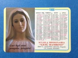 1988 Calendarietto Calendario Santino Holy Card Image Pieuse Scuola Missionaria Gesu' Bambino S Antonio Abate Napoli - Santini