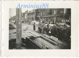 Campagne De France 1940 - Belgique - Liège - Meuse - Pont Maghin Détruit & Pont Flottant - Quai Godefroid Kurth - Guerre, Militaire