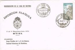 34399. Carta UTIEL (Valencia) 1971. Exposicion E  Inauguracion Casa De Cultura - 1931-Hoy: 2ª República - ... Juan Carlos I
