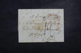 """FRANCE / ALLEMAGNE - Cachet D'entrée """" Bade Par Strasbourg """" Sur Lettre En 1852 - L 45748 - Marques D'entrées"""