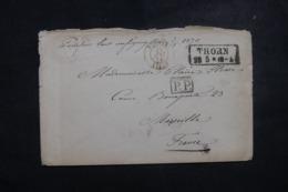 """FRANCE / ALLEMAGNE - Cachet D'entrée """" Prusse / Lille """" Sur Enveloppe De Thorn En 1870 En PP - L 45749 - Poststempel (Briefe)"""