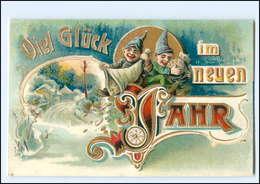 XX006540/ Neujahr Zwerge Geld Münzen Ca.1910 Litho Prägedruck AK - New Year