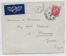 1940 - CERES TYPE 1938 - ENVELOPPE FM Par AVION De La POSTE AUX ARMEES => GIRONDE - Marcophilie (Lettres)