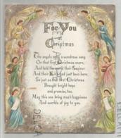 Superbe Carte à Système. Ribambelle D'anges Musiciens. Crèche à Fenêtres Cachant Textes Et Personnages De Noël. Dorée. - Noël