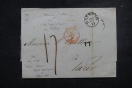 """FRANCE / ALLEMAGNE- Cachet D'entrée """" Tour T. / Forbach """" En Rouge Sur Lettre De Harburg En 1847 - L 45752 - Poststempel (Briefe)"""