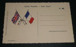 Rare CPA, Carte Postale, Illustrée De Drapeaux Français & Anglais, Franchise Militaire, Post-Card - Patriottisch