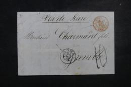"""FRANCE / ITALIE - Cachet D'entrée """" E.PONT / MARSEILLE """" En Rouge Sur Lettre De Rome En 1858 - L 45756 - Poststempel (Briefe)"""