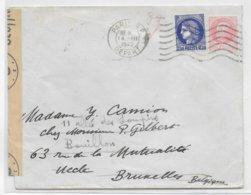 1942 - CERES TYPE 1938 + PETAIN (TEINTE TRES CLAIRE !) - ENVELOPPE CENSUREE  De PARIS => UCCLE (BELGIQUE) REEXPEDIEE - Marcophilie (Lettres)