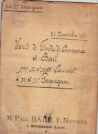 MONTARGIS PAUL BAILLY NOTAIRE PARDEVANT VENTE DE FONDS DE COMMERCE MARECHAL FERRAND A PANNES ARTHUR LAURENT ET PAGUIGNON - Frankreich