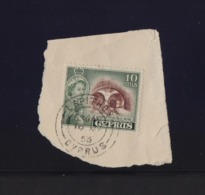 CYPRUS LAPITHOS RURAL POSTMARK ON 1955 STAMP ON PIECE - Cyprus (...-1960)
