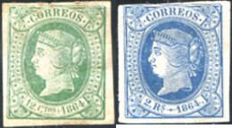 Ref. 285172 * HINGED *  - SPAIN . 1864. ISABEL II. ISABEL II - 1850-68 Reino: Isabel II