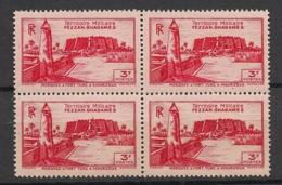 Fezzan - 1946 - N°Yv. 34 - Fort De Sebha 3f Rouge - Bloc De 4 - Neuf Luxe ** / MNH / Postfrisch - Fezzan (1943-1951)