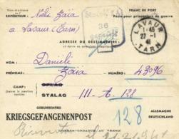 Franc De Port Poste Pour Prisonniers De Guerre De Lavaur Vers Stalag III A 36 Gepruft KRIEGSGEFANGENENPOST RV - Militaria