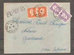 Envel   5f  X 2    Et  1 F   Dulac   Oblit   POSTE  NAVALE   De Toulon (adresse Au Dos) - 1944-45 Marianne De Dulac
