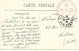49-cachet Infirmerie De Gare -Angers  Sur CP En 1915 - Marcophilie (Lettres)