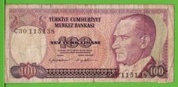 TURQUIE / 100 TÜRK LIRASI / 1970 - Turkije