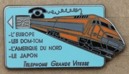 TGV - TRAIN ORANGE - TELEPHONE  GRANDE VITESSE - CARTE A PUCE - L'EUROPE- LE JAPON - SCNF -  FRANCE  -    (22) - TGV